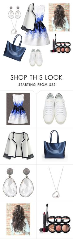 """""""Blue-White Outfit"""" by e-sekovanikj ❤ liked on Polyvore featuring WithChic, Yves Saint Laurent, Chicwish, Tiffany & Co. and Laura Geller"""