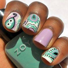 abstract Paisley nails