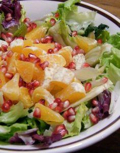 Σαλάτα με πορτοκάλι και ρόδι Cobb Salad, Cabbage, Salads, Vegetables, Food, Essen, Cabbages, Vegetable Recipes, Meals