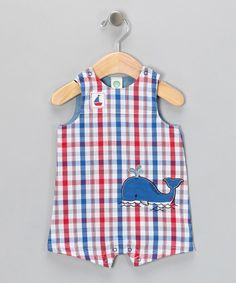 Take a look at this Blue Plaid Whale Romper by Little Me on #zulily today!