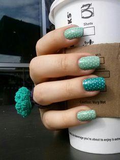 Teal polka dot nail art