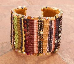 CUFF BRACELET: Fiber Art Striped Tapestry Cuff by TealEves on Etsy
