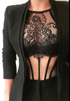 Note to self: Wear more business jackets over lingerie! Note to self: Wear more business jackets over lingerie! Jolie Lingerie, Lingerie Set, Women Lingerie, Retro Lingerie, Fashion Lingerie, Black Lingerie, Mode Outfits, Sexy Outfits, Fashion Outfits