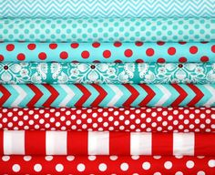 Fabric Shelf - Michael Miller Fat Quarter Fabric bundle Aqua and Red Fabric Bundle 8 Fat Quarters