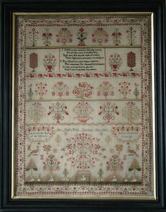 Antique Sampler: This is Ann Dale's sampler from 1827. I reproduced this in graph form, so any stitcher can make her (or his!) own antique. You can get the graph through my web site, or at your local needlework store.