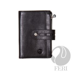 - Small brown wallet - Made from high grade leather - Single fold closure with snap - 1 zippered slot - 1 Transparent window for ID or photos - 6 Credit card slots - 1 Bill compartment - 4 hidden compartments - Lined with customized FERI lining - Embossed with FERI Swan  Width: 11.5 cm Height: 14.5 cm