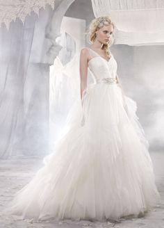 Fabulous chiffon wedding gown.