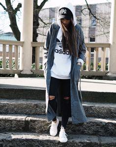 Madeleine Pedersen in the Trefoil Hoodie by adidas Originals and Wanda Coat by JUNKYARD XX-XY. #junkyardstyle
