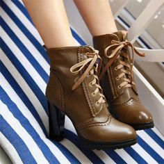 Fashion Lace Up Block High Heel Martin Boot Ankle