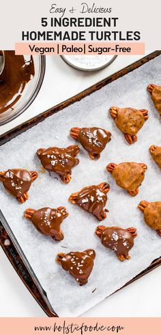 Easy, 5 ingredient homemade and healthy chocolate turtles! These no bake pecan caramel turtles take only 15 minutes of prep and are the perfect healthy dessert to have stashed in your fridge or freezer. Learn how to make these vegan chocolate turtles for yourself!