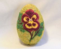 Large Needle Felted Easter Egg - Ruby Red & Yellow Pansy on Gold Sparkly Egg
