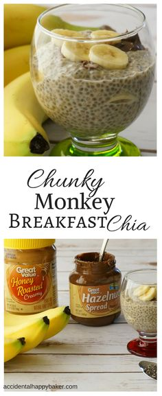 Ridiculously easy. Ridiculously good. Honey and peanut butter sweetened chia seed pudding layered with bananas and topped with hazelnut spread.