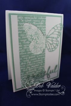 See Deb's video on creating this cool card. It uses Awesomely Artistic, In Color dsp stack, Butterflies & Seasonal Frame Thinlits sets - all from Stampin' Up!