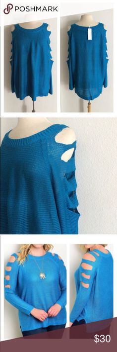 """(Plus) Blue sweater Blue cold shoulder sweater. 100% acrylic. Extremely soft with great stretch! Great oversized look for fall and winter.  XL: L 28"""" • B 50"""" XXXL: L 30"""" • B 54"""" Availability: XL•XXXL • 1•3 ⭐️This item is brand new from manufacturer with tags.  🚫NO TRADES 💲Price is firm unless bundled 💰Ask about bundle discounts Sweaters Crew & Scoop Necks"""