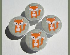 Woodland Drawer Knobs • Fox Knobs • Forest Animal Knobs • Drawer Pulls • Woodland • Kids Woodland Knobs • Dresser Knobs