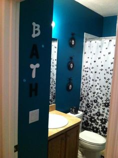 Teal, black, and white bathroom.