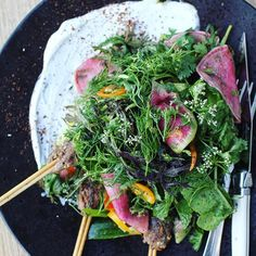 The Write Stuff: Silver Lake's Botanica goes from online magazine to bricks-and-mortar restaurant and market. Herb Salad, Health Club, Silver Lake, Kabobs, Dental Health, Seaweed Salad, Dinner Tonight, Coriander, How To Stay Healthy