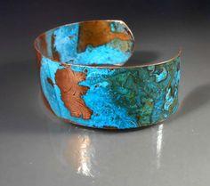Handmade Embossed Copper Cuff Bracelet CB463 by studiovdesigns