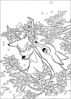 Animal Coloring Pages For Adults | ... Coloring Page to Print Free: spring faline and bambi coloring page to