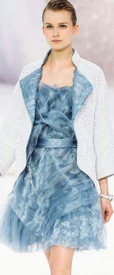 Chanel ~ Dreamy Blue Dress w White Jacket 2012