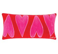 Cathie Maney Young Hearts 30x60cm Filled Cushion Pink Colorful Fish, Quilt Cover, Paint Designs, Old And New, Hearts, Cushions, Tapestry, Hand Painted, Quilts