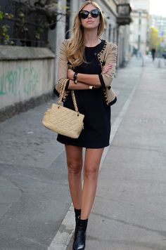 Love the cardigan, and dress, boots give it an edge. Love!