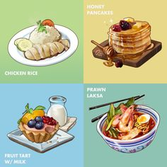 Tasty food Icons YUM YUM - by Warren Goh (Quviart)Designed to fit in a 256 x 256 px format. I worked in double the size to preserve quality. Testing different approaches to get fast and colourful food icons. Honey Pancakes, Cute Baking, Food Sketch, Types Of Desserts, Food Icons, Tasty, Yummy Food, Food Challenge, Food Drawing