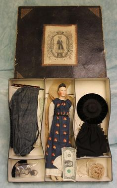18 Antique 1840's German Paper Mache Lady Doll Wardrobe, Shoes with Fitted Box