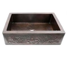 Tropical Fruits Copper Farmhouse Kitchen Sink | Shown in Dark Smoke | Available at CopperSinksOnline.com