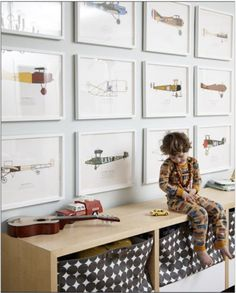 airplane gallery wall + dotted play storage baskets