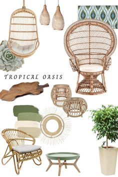 Fresh and Leafy Lounge Scheme, incorporating jungle inspired decoration, natural rattan furniture, concrete and teak, glazed pots, leafy plants, green, coconut beige, natural materials Beige Living Rooms, Living Room Green, Green Rooms, Bedroom Green, Yoga Background, Esthetician Room, Jungle Room, Leafy Plants, African Home Decor