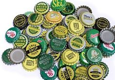 Vintage & Vintage Inspired Bottle Caps -Yellow Green Mix