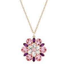 Swarovski Cinderella Purple & Pink Crystal Flower Necklace