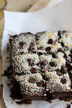 Black Bean Brownies with Shredded Coconut  by theroastedroot #Brownies #Black_Bean #Healthy