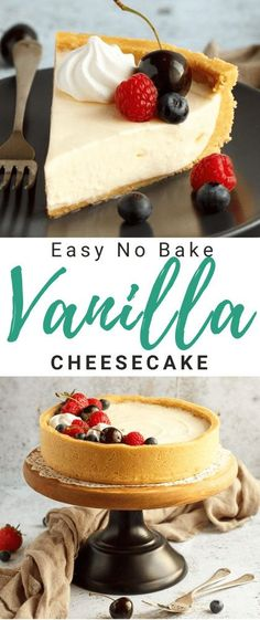 This light and delicious no bake vanilla cheesecake is silky smooth, beautifully creamy and very easy to make! A perfect make ahead dinner party recipe, this is a guaranteed crowd pleaser. Click for the full step by step picture recipe, video tutorial and TONS of helpful tips. #cheesecake #cheesecakerecipes #easycheesecakerecipes #nobakecheesecake #nobakecheesecakerecipes #vanillacheesecake #vanillacheesecakerecipes No Bake Chocolate Cheesecake, Lemon Cheesecake Recipes, Cheesecake Toppings, Cheesecake Desserts, Make Ahead Desserts, No Bake Desserts, Easy Desserts, Dessert Recipes, Picture Recipe