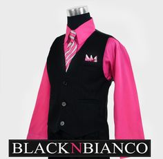 Boys Pinstripe Vest Suit with Fuchsia Shirt 2-14