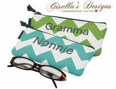 Reading Glasses Case Personalized zipper pouch. Customized your own. Click here to check out all the colors available. www.gisellasdesigns.etsy.com