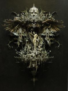 Unreal sculpture by Kris Kuksi. Taking world events as his inspiration, he transforms it with a kind of synthesis of gothic race memory and Giger-influenced psychological horror. Mixed Media Sculpture, Art Sculpture, Baroque Sculpture, Art Actuel, Art Du Monde, Assemblage Art, Art Plastique, Medium Art, Dark Fantasy