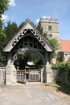 Next door to St. Timber Gates, Wooden Gates, Pictures Of England, The Beautiful Country, Entrance Gates, Next Door, Ancient Architecture, My House, Gazebo