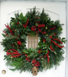 """Nothing says """"Christmas"""" like a classic evergreen wreath All Things Christmas, Christmas Home, Christmas Holidays, Christmas Crafts, Merry Christmas, Christmas Ornaments, Outdoor Christmas, Simple Christmas, Christmas Door Wreaths"""