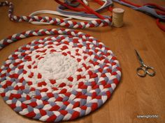Making a rug from old t-shirts your family won't wear anymore