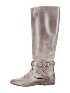 Chloé Round-Toe Leather Boots