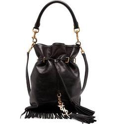 Monogram Small Fringe Bucket Bag, Black - Saint Laurent