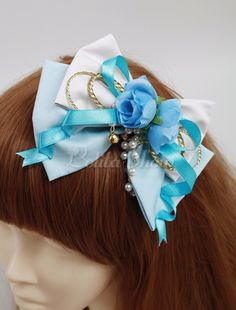 Being the most beautiful Lolita princess, Lolitashow Lolitashow Blue Cotton Sweet Lolita Headdress couples with sweet styles and comfortable materials at affordable prices. Flower Hair Clips, Flowers In Hair, Kawaii Crafts, Rhinestone Bow, Hat Hairstyles, Lolita Fashion, Headdress, Hair Bows, Hair Accessories