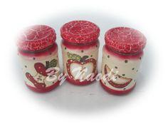 Conjunto de vidros para condimentos - craquelê, pintura decorativa e decoupagem