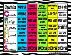 This fun and colorful CHAMPS Expectation Chart is a positive classroom management tool created to remind your students what you expect during a variety of classroom activities. Classroom Procedures, Classroom Activities, Classroom Organization, Classroom Ideas, Classroom Design, Classroom Board, Classroom Tools, Bulletin Boards, Organizing