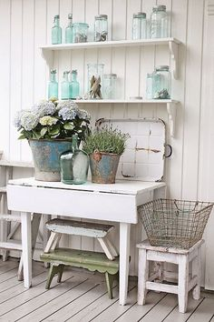 I love this table and shelves, just as nice as any small buffet/hutch #shabbychichomesfarmhousestyle