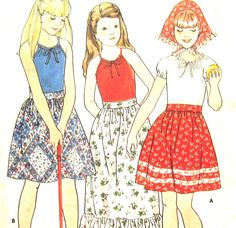 Uncut Pattern Girls T Shirt Long or Short Skirt and Scarf Butterick 5448 Size 8