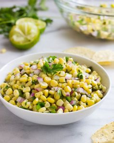 Chipotle Copycat Chipotle's Corn Salsa- two secret ingredients give this salsa it's irresistible flavor!Copycat Chipotle's Corn Salsa- two secret ingredients give this salsa it's irresistible flavor! Mexican Food Recipes, Vegan Recipes, Cooking Recipes, Fondue Recipes, Mexican Dishes, Corn Recipes, Party Recipes, Cooking Ideas, Vegetable Recipes