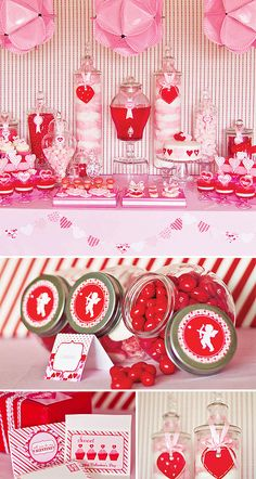 Can't have valentine's without sweet treats - incorporate a candy/dessert table in your Valentine themed wedding - can go bold with bright and dark reds or stay soft with light pinks and champagnes
